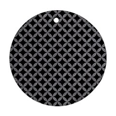 Circles3 Black Marble & Gray Colored Pencil Round Ornament (two Sides)