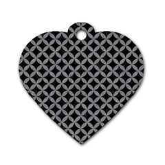 Circles3 Black Marble & Gray Colored Pencil Dog Tag Heart (one Side)