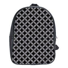 Circles3 Black Marble & Gray Colored Pencil School Bag (large)