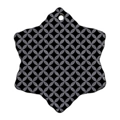 Circles3 Black Marble & Gray Colored Pencil Snowflake Ornament (two Sides)