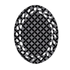 Circles3 Black Marble & Gray Colored Pencil (r) Oval Filigree Ornament (two Sides)