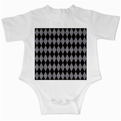 Diamond1 Black Marble & Gray Colored Pencil Infant Creepers