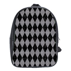 Diamond1 Black Marble & Gray Colored Pencil School Bag (large)