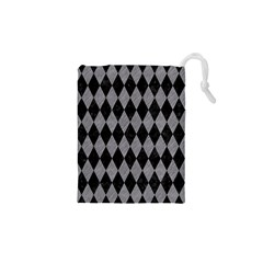 Diamond1 Black Marble & Gray Colored Pencil Drawstring Pouches (xs)
