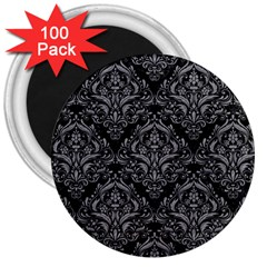 Damask1 Black Marble & Gray Colored Pencil 3  Magnets (100 Pack)