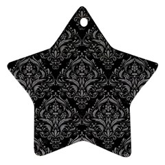 Damask1 Black Marble & Gray Colored Pencil Star Ornament (two Sides)