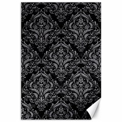 Damask1 Black Marble & Gray Colored Pencil Canvas 12  X 18