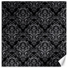 Damask1 Black Marble & Gray Colored Pencil Canvas 20  X 20