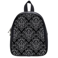 Damask1 Black Marble & Gray Colored Pencil School Bag (small)