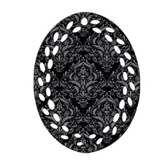 Damask1 Black Marble & Gray Colored Pencil Oval Filigree Ornament (two Sides)