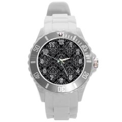 Damask1 Black Marble & Gray Colored Pencil Round Plastic Sport Watch (l)