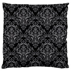 Damask1 Black Marble & Gray Colored Pencil Large Cushion Case (one Side)