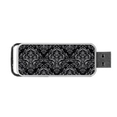 Damask1 Black Marble & Gray Colored Pencil Portable Usb Flash (one Side)