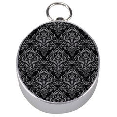 Damask1 Black Marble & Gray Colored Pencil Silver Compasses