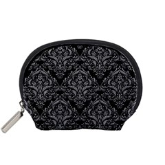 Damask1 Black Marble & Gray Colored Pencil Accessory Pouches (small)