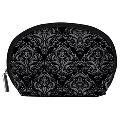 Damask1 Black Marble & Gray Colored Pencil Accessory Pouches (large)