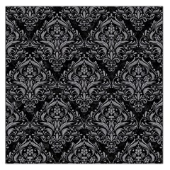 Damask1 Black Marble & Gray Colored Pencil Large Satin Scarf (square)