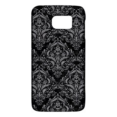 Damask1 Black Marble & Gray Colored Pencil Galaxy S6