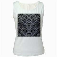 Damask1 Black Marble & Gray Colored Pencil (r) Women s White Tank Top