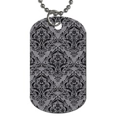 Damask1 Black Marble & Gray Colored Pencil (r) Dog Tag (one Side)