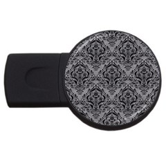 Damask1 Black Marble & Gray Colored Pencil (r) Usb Flash Drive Round (2 Gb)
