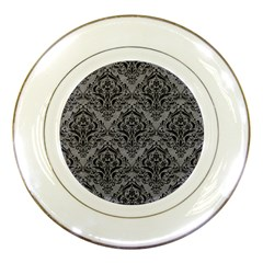 Damask1 Black Marble & Gray Colored Pencil (r) Porcelain Plates