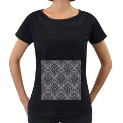 Damask1 Black Marble & Gray Colored Pencil (r) Women s Loose Fit T Shirt (black)
