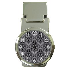 Damask1 Black Marble & Gray Colored Pencil (r) Money Clip Watches