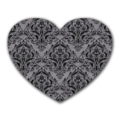 Damask1 Black Marble & Gray Colored Pencil (r) Heart Mousepads