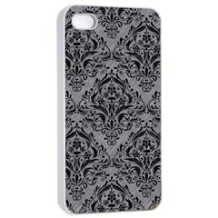 Damask1 Black Marble & Gray Colored Pencil (r) Apple Iphone 4/4s Seamless Case (white)