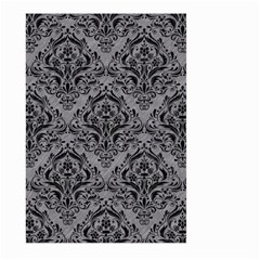 Damask1 Black Marble & Gray Colored Pencil (r) Large Garden Flag (two Sides)