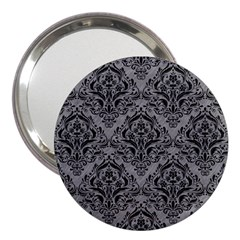 Damask1 Black Marble & Gray Colored Pencil (r) 3  Handbag Mirrors