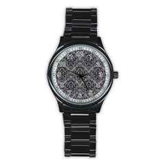 Damask1 Black Marble & Gray Colored Pencil (r) Stainless Steel Round Watch