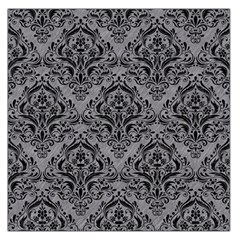 Damask1 Black Marble & Gray Colored Pencil (r) Large Satin Scarf (square)