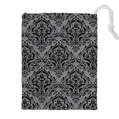 Damask1 Black Marble & Gray Colored Pencil (r) Drawstring Pouches (xxl)