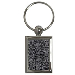 Damask2 Black Marble & Gray Colored Pencil Key Chains (rectangle)