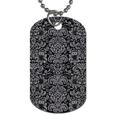 Damask2 Black Marble & Gray Colored Pencil Dog Tag (one Side)