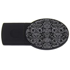 Damask2 Black Marble & Gray Colored Pencil Usb Flash Drive Oval (4 Gb)
