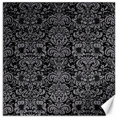 Damask2 Black Marble & Gray Colored Pencil Canvas 12  X 12