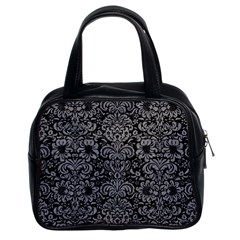Damask2 Black Marble & Gray Colored Pencil Classic Handbags (2 Sides)