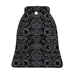 Damask2 Black Marble & Gray Colored Pencil Bell Ornament (two Sides)