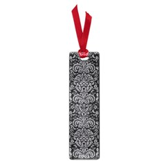 Damask2 Black Marble & Gray Colored Pencil Small Book Marks