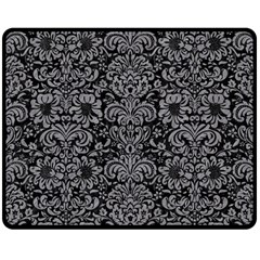 Damask2 Black Marble & Gray Colored Pencil Double Sided Fleece Blanket (medium)