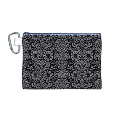 Damask2 Black Marble & Gray Colored Pencil Canvas Cosmetic Bag (m)