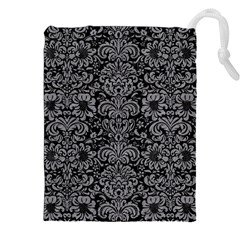Damask2 Black Marble & Gray Colored Pencil Drawstring Pouches (xxl)
