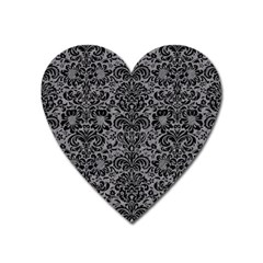 Damask2 Black Marble & Gray Colored Pencil (r) Heart Magnet