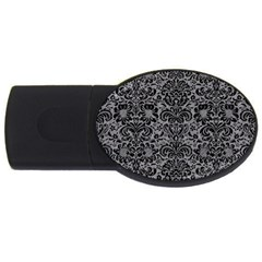Damask2 Black Marble & Gray Colored Pencil (r) Usb Flash Drive Oval (2 Gb)