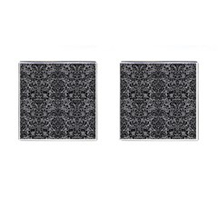 Damask2 Black Marble & Gray Colored Pencil (r) Cufflinks (square)