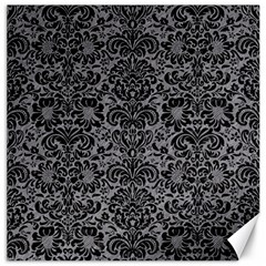 Damask2 Black Marble & Gray Colored Pencil (r) Canvas 12  X 12
