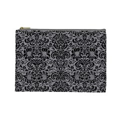 Damask2 Black Marble & Gray Colored Pencil (r) Cosmetic Bag (large)
